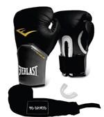 Ficha técnica e caractérísticas do produto Kit Luva Everlast Pro Style Elite Preta 14oz Bandagem/Bucal