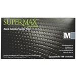 Ficha técnica e caractérísticas do produto Luva Nitrílica Preta Sem Pó Tam.M - C/100Unidades - Supermax