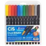 Ficha técnica e caractérísticas do produto Marcador Artístico 12 Cores Dual Brush Aquarelável Cis 1028523