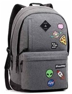 Mochila Feminina Seanite com Patches Grafite Mj14033