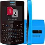 Nokia Asha 205 Preto/Azul - GSM. Dual Chip. Teclado Qwerty. Câmera VGA. MP3 Player e Bluetooth