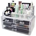 Ficha técnica e caractérísticas do produto Organizador Porta Maquiagem Pincel Batom Acrílico 4 Gavetas