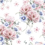 Papel de Parede Adesivo Flores Rosa e Azul 2,70x0,57m