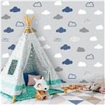 Ficha técnica e caractérísticas do produto Papel de Parede Adesivo Nuvens Azul, Branco e Cinza