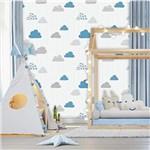 Ficha técnica e caractérísticas do produto Papel de Parede Baby Nuvens Cinza e Azul