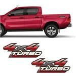 Par de Adesivos Hilux 2009/2012 Emblema 4x4 Turbo