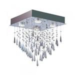 Ficha técnica e caractérísticas do produto Pendente Cristal Thunder Quadrado para 4 Lâmpadas GU10 Bronzearte