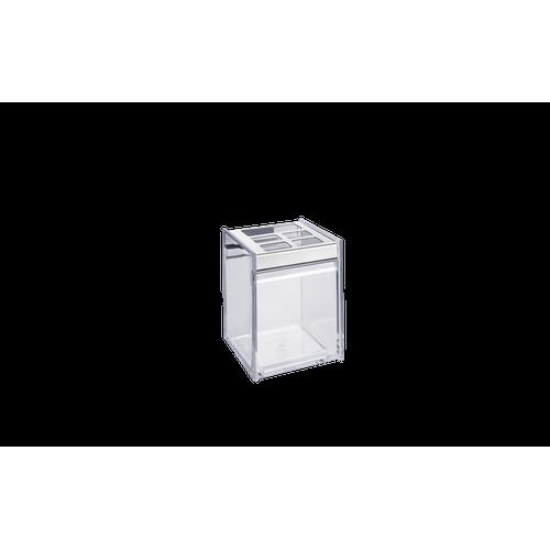 Ficha técnica e caractérísticas do produto Porta Escova/Creme Dental - Quadrata 8 X 11,5 Cm Cristal