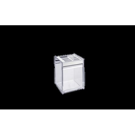 Ficha técnica e caractérísticas do produto Porta Escova/Creme Dental - Quadrata 8 X 8 X 11,5 Cm Cristal Brinox