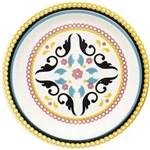 Prato de Cerâmica Fundo 23cm Floreal Luiza Oxford - Amarelo