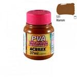 Ficha técnica e caractérísticas do produto PVA Tinta Fosca P/ Artesanato 37ml Marrom Acrilex 531