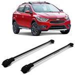 Rack de Teto Travessa Slim Chevrolet Onix Cross Activ 2012 a 2018 Prata Suporte 45KG