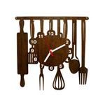 Ficha técnica e caractérísticas do produto Relógio de Parede Decorativo - Modelo Cozinha - Marrom