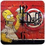 Relógio de Parede Duff Homer Simpsons Cerveja Quadrado