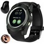 Relógio Smartwatch V8 Inteligente Gear Chip Celular Touch + Mini Fone de Ouvido Bluetooth