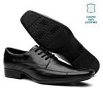 Sapato Social Masculino em Couro Legítimo com Cadarço Vr Preto