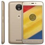 Ficha técnica e caractérísticas do produto Smartphone Motorola Moto C Plus XT1726 Ouro com 8GB, Tela 5'', TV Digital, Dual Chip, Android 7.0, 4G, Câmera 8MP, Processador Quad-Core e 1GB de RAM