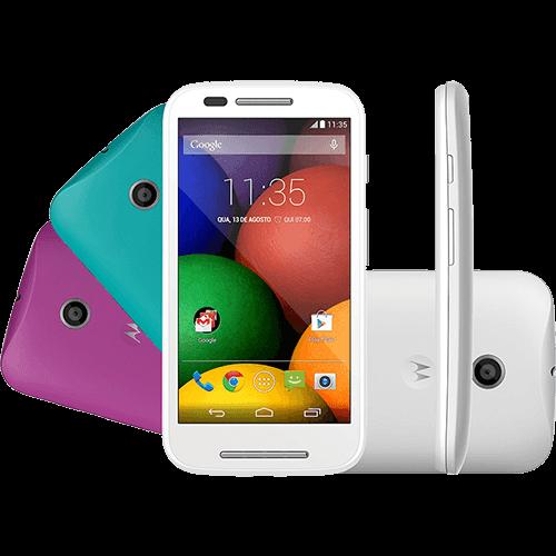 """Smartphone Motorola Moto e DTV Colors Dual Chip Desbloqueado Android 4.4 Tela 4.3"""" 4GB 3G Wi-Fi Câmera 5MP GPS TV Digital - Branco"""