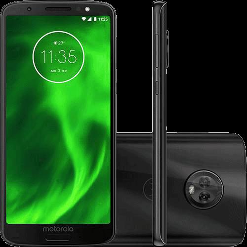 "Ficha técnica e caractérísticas do produto Smartphone Motorola Moto G6 64GB Dual Chip Android Oreo - 8.0 Tela 5.7"" Octa-Core 1.8 GHz 4G Câmera 12 + 5MP (Dual Traseira) - Preto"