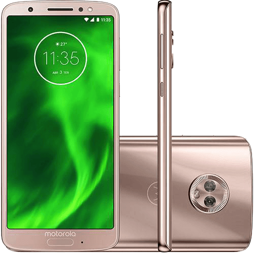"Ficha técnica e caractérísticas do produto Smartphone Motorola Moto G6 Dual Chip Android Oreo - 8.0 Tela 5.7"" Octa-Core 1.8 GHz 64GB 4G Câmera 12 + 5MP (Dual Traseira) - Ouro Rose"