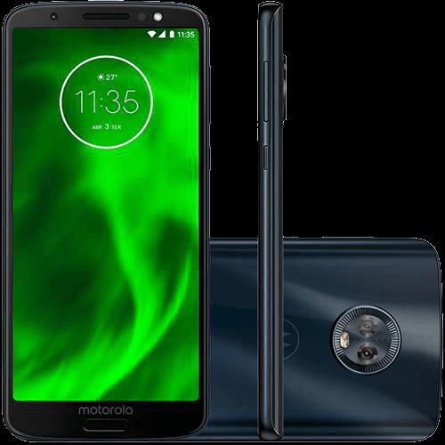 """Ficha técnica e caractérísticas do produto Smartphone Motorola Moto G6 32GB Dual Chip Android Oreo - 8.0 Tela 5.7"""" Octa-Core 1.8 GHz 4G Câmera 12 + 5MP (Dual Traseira) - Índigo"""