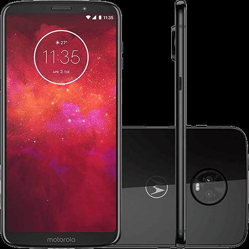 "Ficha técnica e caractérísticas do produto Smartphone Motorola Moto Z3 Play 128GB Dual Chip Android Oreo - 8.0 Tela 6"" Octa-Core 1.8 GHz 4G Câmera 12 + 5MP (Dual Traseira) - Ônix"