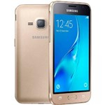 "Ficha técnica e caractérísticas do produto Smartphone Samsung Galaxy J1 2016, Dourado, J120H, Tela de 4.5"", 8GB, 5MP"