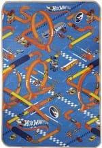 Ficha técnica e caractérísticas do produto Tapete Jolitex Recreio Mattel Enrolado Hot Wheels 120x180 Azul