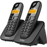 Ficha técnica e caractérísticas do produto Telefone Sem Fio + 1 Ramal Ts 3112 Preto - Intelbras