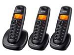 Telefone Sem Fio Elgin TSF-7003 + 2 Ramais - Identificador de Chamada Viva Voz Preto