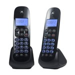 Telefone Sem Fio Motorola Moto750-mrd2 com Identificador de Chamadas Digital Viva Voz Ramal Preto