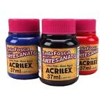 Ficha técnica e caractérísticas do produto Tinta PVA Fosca para Artesanato Cores Escuras 37ml - Acrilex 501 - Azul Turquesa