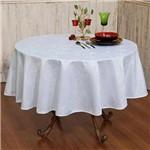 Toalha de Mesa Jacquard Redonda 160cm Tecido Impermeável - Branca - Pietra Home