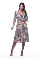 Ficha técnica e caractérísticas do produto Vestido com Amarração-estampa Azul - Gg