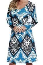 Ficha técnica e caractérísticas do produto Vestido Estampado Energia Fashion Estampado Azul