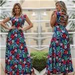 Ficha técnica e caractérísticas do produto Vestido Longo Floral Tiras Azul