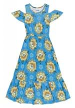 Ficha técnica e caractérísticas do produto Vestido Nanai Longo Azul Floral