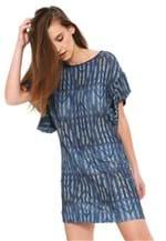 Ficha técnica e caractérísticas do produto Vestido Sacada Curto Estampado Azul