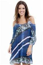 Ficha técnica e caractérísticas do produto Vestido Saída Ciganinha Estampado Azul