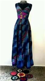 Ficha técnica e caractérísticas do produto Vestido Seda Indiana Longo Azul