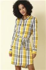 Ficha técnica e caractérísticas do produto Vestido Xadrez Manga Longa - Amarelo Tamanho: P